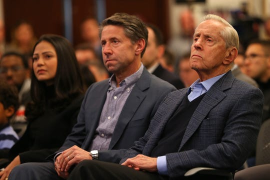 New York Mets Chief Operating Officer Jeff Wilpon and Chairman of the Board & Chief Executive Officer Fred Wilpon listen in as Luis Rojas is introduced as the team's new manager at Citi Field on January 24, 2020 in New York City. Rojas had been the Mets quality control coach and was tapped as a replacement after the newly hired Carlos Beltrán was implicated for his role as a player in 2017 in the Houston Astros sign-stealing scandal.
