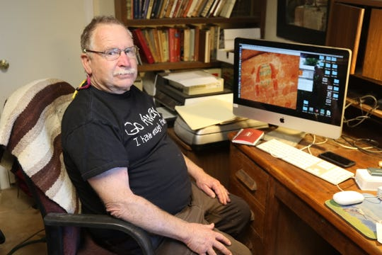 Fred Blackburn, who leads a team conducting a survey of historic inscriptions at Aztec Ruins National Monument, says he hopes to finish documenting the graffiti by the end of this year.