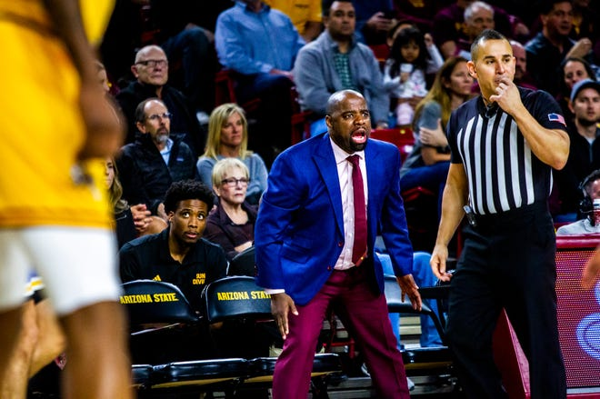 Arizona State associate head coach Rashon Burno yells from the sideline during the first half of an NCAA basketball game between Arizona State and UCLA at Desert Financial Arena in Tempe on Thursday, Feb. 6, 2020.