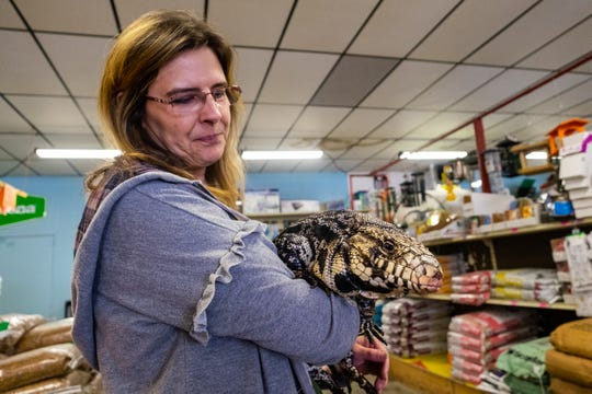 Christina Kinde, owner of Timber Creek Petting Farm, holds Eddie, a Black and White Tegu from Argentina Friday, Feb. 7, 2020, at Farmer Jahn's Feed and Seed LLC in Croswell. Kinde will be hosting a fundraiser at the store Sunday, Feb. 16 at 1:30 p.m.