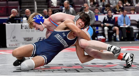 Dallastown's Blake Keim wrestles Mike Palinkas of Father Judge during the 138 pound bout, Thursday, February 6, 2020.