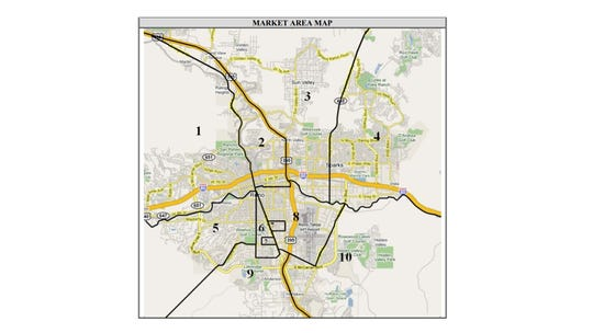 A map of the various Reno-Sparks submarkets for apartments.