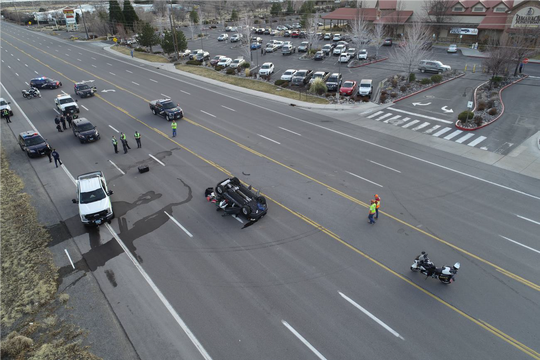 A photo taken from above a fatal crash that involved a motorcycle and an SUV. The crash occurred Jan. 30, 2020, near the Tamarack Junction Casino on South Virginia Street.