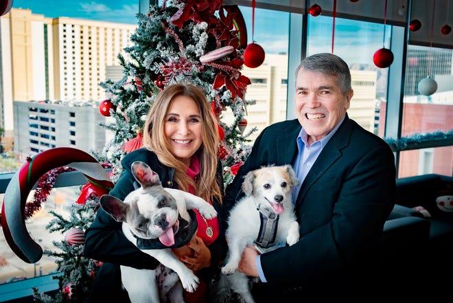 Las Vegas City Councilwoman Victoria Seaman holding her French bulldog, Blu Theo.