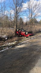A Dodge Durango came to rest on its top against a tree after crashing Friday afternoon on Jacksonburg Road.