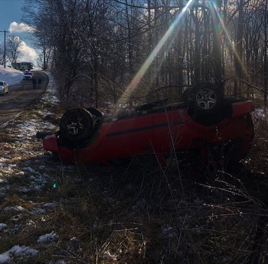 A Richmond teenager complained of pain and minor injuries after his Dodge Durango left Jacksonburg Road and rolled onto its top Friday afternoon.