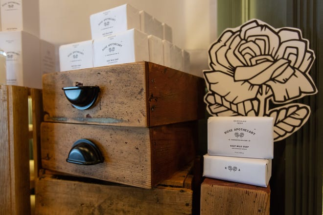 Some of Beekman 1802's products have been temporarily rebranded as Rose Apothecary goods, and are available for a limited time at the Beekman 1802 Mercantile shop in Sharon Springs, Schoharie County. Beekman 1802 partnered with the Canandian sitcom Schitt's Creek to bring character David Rose's Rose Apothecary shop to life in upstate New York.