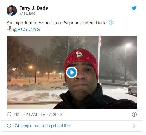 Terry Dade sings school-closing announcement in social post on Friday.