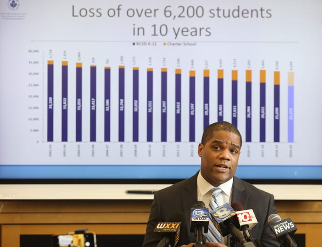 Rochester City School District Superintendent Terry Dade during a press conference where he addressed the district's pre-k plans, and the ongoing budget problems, Friday, Feb. 7, 2020 at the district offices in Rochester.