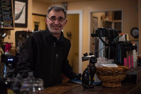 Tony Daou, owner of the Black Cat Cafe in Sharon Springs, knows he has an uncanny resemblance to Schitt's Creek character Johnny Rose (Eugene Levy). People who come to town to see the Rose Apothecary store often will ask him to take selfies with them when they stop in his cafe for lunch.