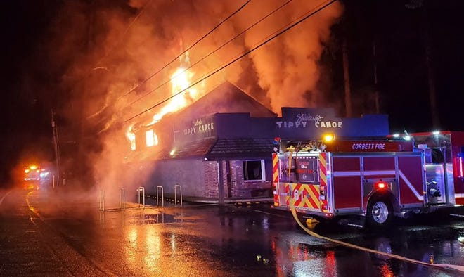 Fire destroyed the popular Shirley's Tippy Canoe restaurant in Troutdale on January 17, 2020.