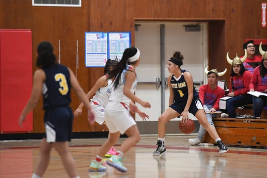 Former North Salinas and Notre Dame standout Natalie Acuna (1) will suit up for Hope International University starting next winter. Feb. 6, 2020.