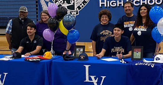 San Angelo Lake View High School baseball players Daylon Saenz, left, and Ryan Avalos made their college plans offical on Friday, Feb. 7, 2020. Saenz is heading to Ranger College and Avalos will be playing for Frank Phillips College in Borger.