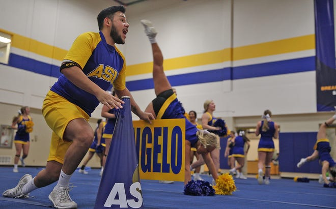 Jose Ortiz, far left, practices a routine with other members of the Angelo State cheerleading squad Tuesday, Jan. 21, 2020.
