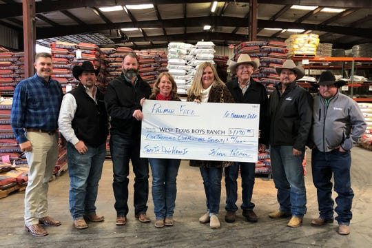 """Representatives from Palmer Feed in San Angelo recently presented donations for more than $1,170 to the West Texas Boys Ranch with proceeds from their annual """"Sack It"""" program."""