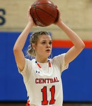 San Angelo Central High School's Delaney Hester gets ready to pass the ball during a game earlier in the 2019-2020 season.