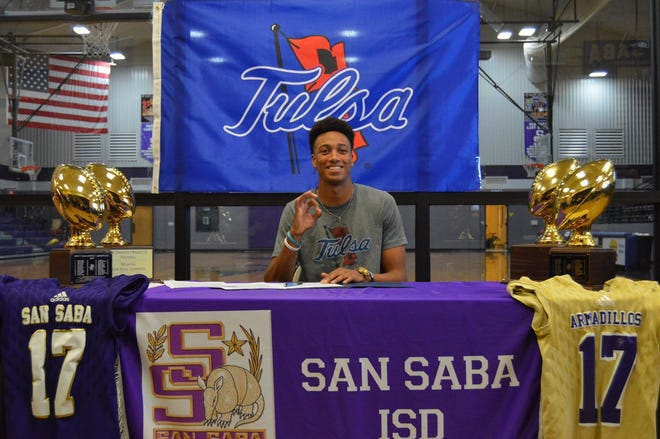 San Saba High School's Sean O'Keefe signed a National Letter of Intent to play football for the University of Tulsa on Dec. 19, 2019, at the San Saba gym.