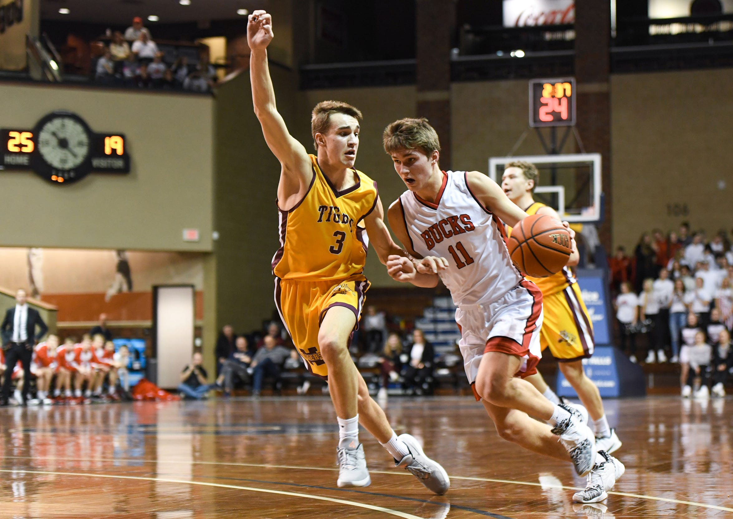 Conner Geddes of Harrisburg guards Cooper Cornemann of Yankton during the Throwback Classic on Thursday, Feb. 6, at the Sanford Pentagon in Sioux Falls.