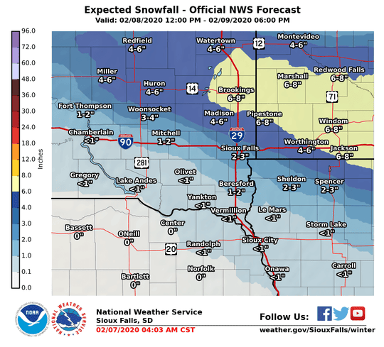 The National Weather Service is predicting a fast-moving winter storm will blow through east central South Dakota this weekend, dumping anywhere from 6 to 8 inches in parts of Lincoln County. Meanwhile, Sioux Falls is expected to get 2 to 3 inches.
