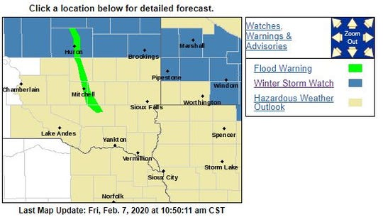 Winter storm watches in the area as of Friday morning.