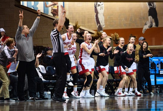 The Yankton Gazelles cheer as they regain the lead in the Throwback Classic against Harrisburg on Thursday, Feb. 6, at the Sanford Pentagon in Sioux Falls.