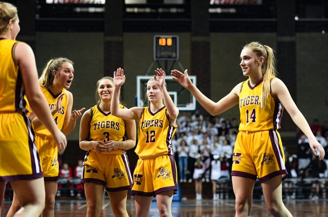 The Harrisburg girls basketball team rallies in the fourth quarter of the Throwback Classic on Thursday, Feb. 6, at the Sanford Pentagon in Sioux Falls.