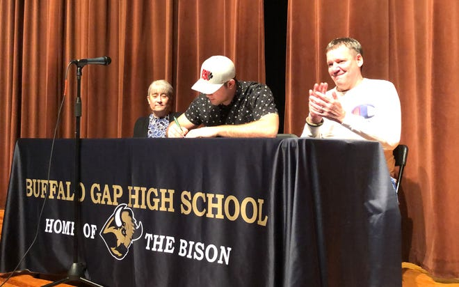 Seth Fitzgerald officially signed to play football with Frostburg State on Friday, February 7, in Buffalo Gap High School's auditorium.