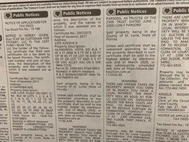 Public notices in the newspaper.