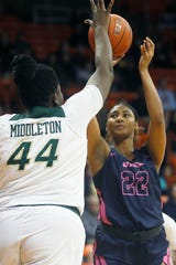 UTEP's Dejanae Roebuck takes a shot against Charlotte during the game Thursday, Feb. 6, at the Don Haskins Center in El Paso.