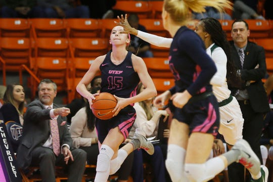 UTEP's Avery Crouse attempts a buzzer beater before the end of the first half during the game against Charlotte Thursday, Feb. 6, at the Don Haskins Center in El Paso.