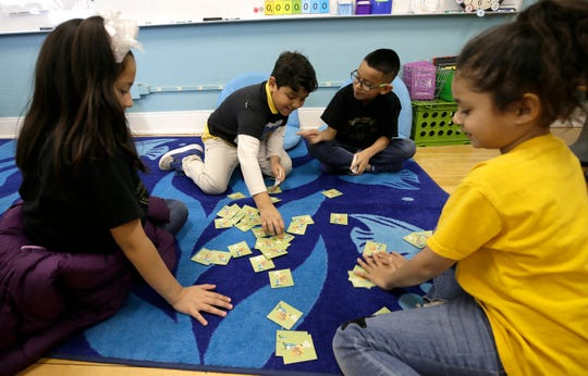 Crockett Elementary School students play a game between assignments Friday, Feb. 7, 2020, in their new classroom, which was renovated with EPISD 2016 bond money.