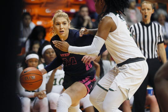 UTEP's Katarina Zec goes against Charlotte defense during  the game Thursday, Feb. 6, at the Don Haskins Center in El Paso.