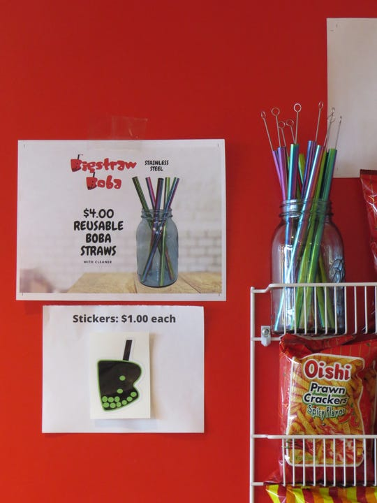 Reusable boba straws with cleaning brushes are available for purchase at Bigstraw Boba in Ventura.