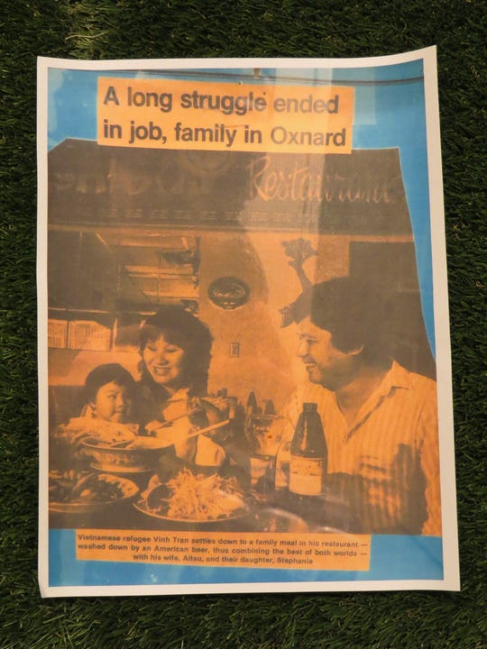 An undated newspaper clipping of a story about his parents is among the items Richard Tran is collecting for display at his Bigstraw Boba location in Ventura.