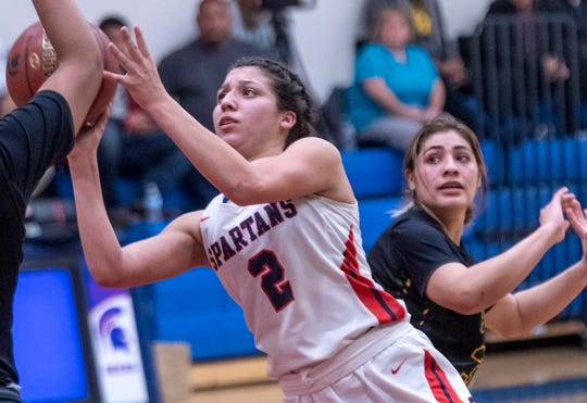 Strathmore's Jazmin Soto shoots against Sierra Pacific, of Hanford, in an East Sequoia League girls high school basketball game on Thursday, February 6, 2020. Soto, a junior, surpassed 2,000 career points last month.