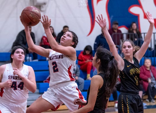 Strathmore's Jazmin Soto goes up for two points against Sierra Pacific, of Hanford, in an East Sequoia League girls high school basketball game on Thursday, February 6, 2020. Soto, a junior, surpassed 2,000 career points last month.