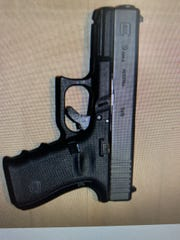 This is a view of a Glock 9mm handgun that was seized at 4 Prairie Ave. in Suffern.  Suffern Police Chief Clarke Osborn announces village's largest drug-related cash seizures: 60 grams of heroin and cocaine, $57,000 in cash and a stolen, loaded Glock 9mm handgun Feb. 7, 2020.