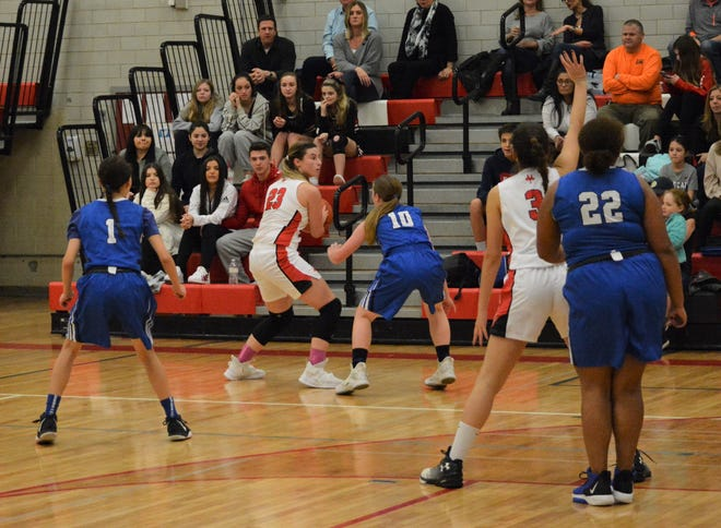 Natalie Pence and Fox Lane handed Kayleigh Heckel and Port Chester a 65-39 loss in girls basketball on Feb. 6, 2020 at Fox Lane High School.