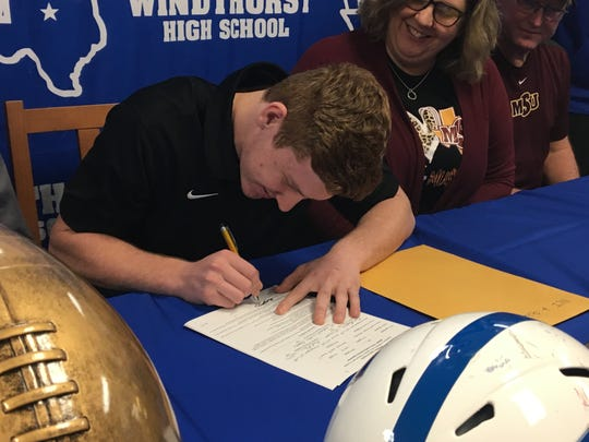 Windthorst receiver Awtry Blagg signs his letter of intent with Midwestern State Friday, Feb. 7, 2020, at Windthorst High School