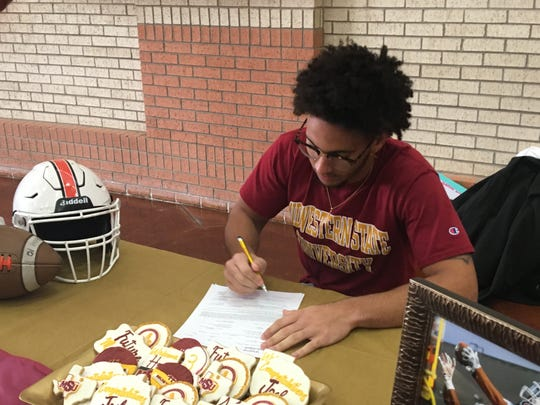 Burkburnett's Josh Myles signs to play football at Midwestern State Friday, Feb.7, 2020, at Burkburnett High School