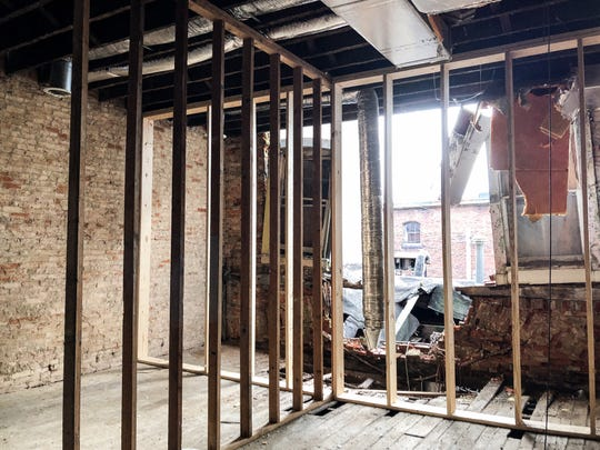 Shoring on an upper floor of 606 Main Street in downtown Zanesville. Restoration of the building has begun after years of negelect.