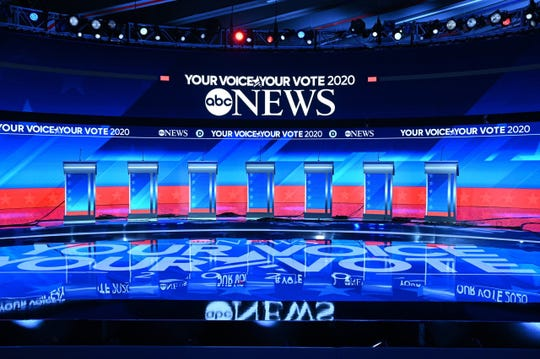 A preview of the New Hampshire Democratic Debate stage.
