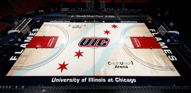 University of Illinois at Chicago's UIC Pavilion. This court depicts flames burning on either side of the floor.