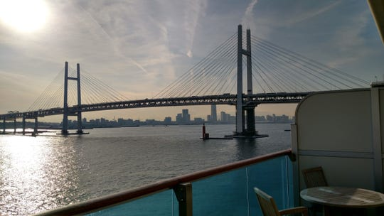 A bridge in Yokohama, Japan, can be seen from the balcony of the Diamond Princess suite of Matt Smith and Katherine Codekas. The couple and fellow passengers are quarantined for at least 14 days on the cruise ship due to some passengers testing positive for coronavirus.