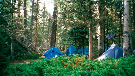 A campsite setup off the trail to the summit of the second highest peak in Philmont Scout Ranch, N.M.,
