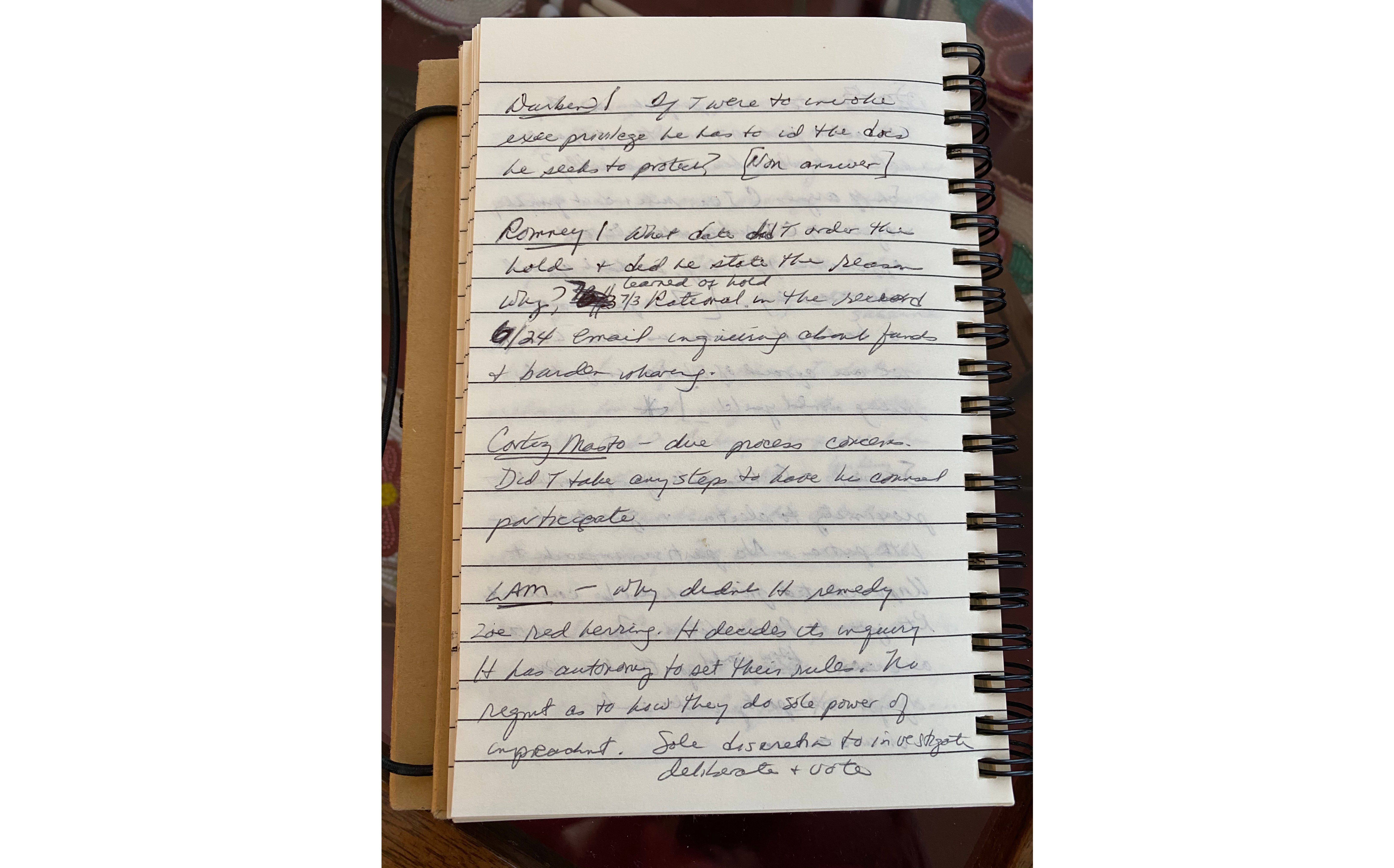 Notes used by Sen. Lisa Murkowski (R-AK) during the impeachment trial of US President Donald J. Trump.
