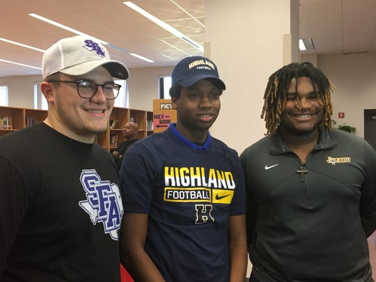 Pineville's Jacob Broussard (Stephen F. Austin), D.J. Conston (Highland Community College) and Jonovan Herron (East Texas Baptist) signed with schools Friday.