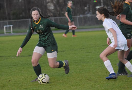 Holy Savior Menard senior Anna Scalfano (12) scored a goal in overtime against Westminster Christian Academy Friday, Feb. 7, 2020 as the Lady Eagles won 2-0.