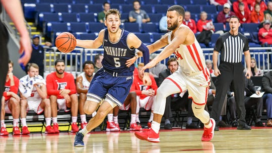 Monmouth's George Papas drives against a Fairfield defender during the Hawks' last-second loss on Feb. 5, 2020.
