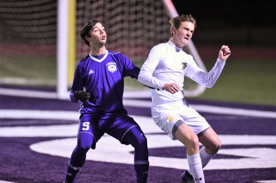 Wylie's Drew Kerestly (5) waits for the ball against a Stephenville defender during the game at Bulldog Stadium on Friday, Feb. 7, 2020. The Bulldogs scored first, but fell 2-1 in their final nondistrict game.